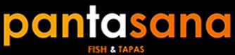 logo of pantasana, black background with white and orange letters